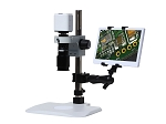 eHD801LBSm12a HD 1080p Digital Microscope (2x-59x) with Basic Stand and 11.6 inch Retina HD Display Ergo Mount
