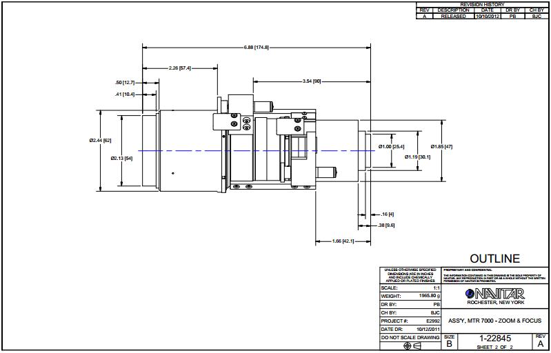Navitar Machine Vision 1-22845 Motorized Zoom 7000, Zoom and Focus