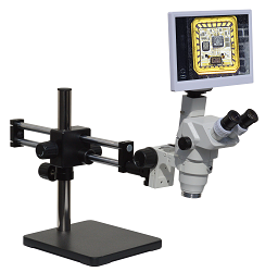 "HD8TR-LDUm12 HD 1080p Digital Microscope with Dual Sliding Arm Stand and 11.6"" Retina HD Display"