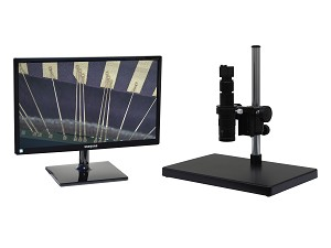 eUSx305LBK 3 MP USB Digital Microscope 24x-160x or possible 12x-320x and Measurement/Image Processing with LED Ring Light and Black Basic Stand