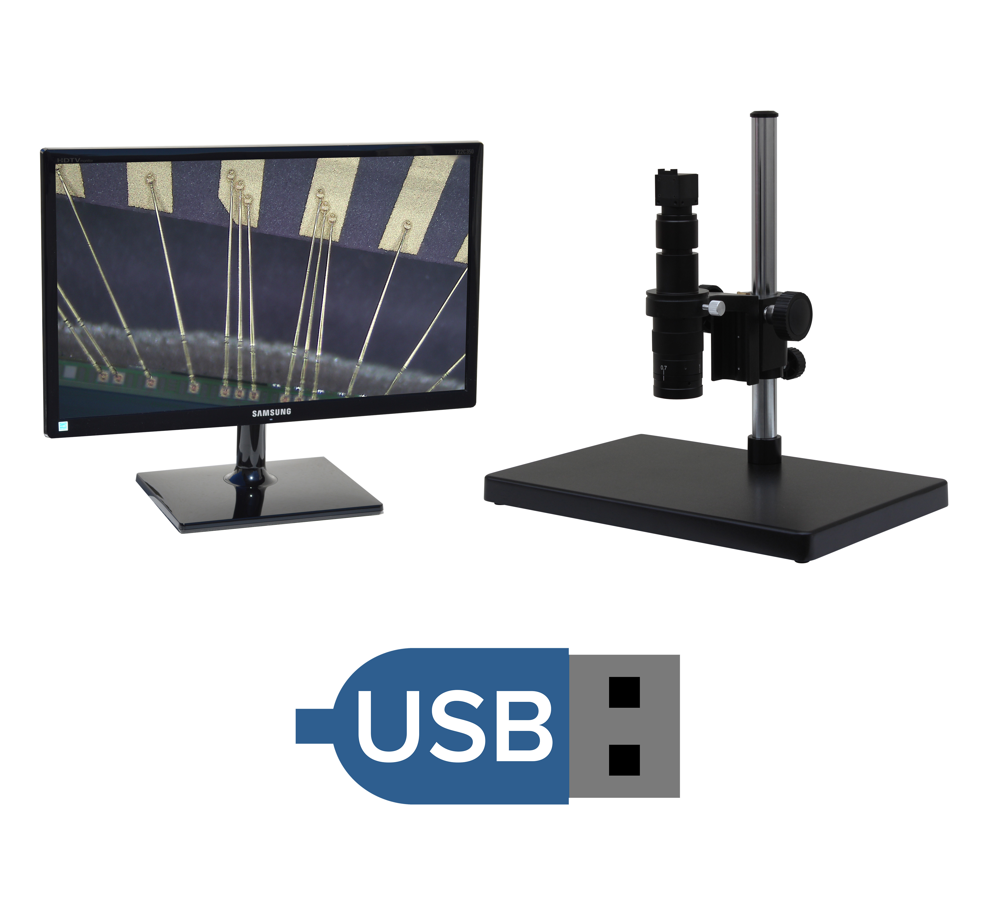 eUSx305 series 24x-160x or possible 12x-320x USB Microscope (3, 10 or 14 MP) with Measurement/Image Processing (PC Required) [Starting at $849]