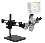 eTR100LDU HD Trinocular Digital Microscope with LED Ring Light and Dual Sliding Bearing Arm Stand