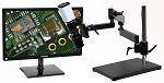 5x-122x Full HD 1080p Digital Microscope eHD801LAB with LED ring light/diffuser glass and Articulating Arm Stand with Vertical Pole/Table Base