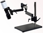 5x-122x Full HD 1080p Digital Microscope HD801-LAB with LED Lighting Articulating Arm Stand (Optional 24 inch HD monitor and video measurement software)
