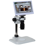 eHD801LBSBLm12 HD 1080p Digital Microscope (2x-59x) with Basic Stand with Back Lighting and 11.6 inch Retina HD Display