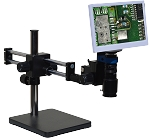 eHD801LDUm12 HD 1080p Digital Microscope (2x-59x) with Dual Sliding Bearing Arm Stand and 11.6 inch Retina HD Display