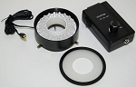 Ultra bright 80 LEDs ring light with intensity controller box.  With removable diffuser glass. LED80W-LD