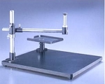 Meiji Techno UL Wide Surface laminate Stand with Pillar, Crossarm, mounting post and rotatable tray, base 580mm x 500mm x 38mm
