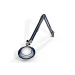 "Meiji MG800/2XBLU Round 2x Magnifier 5"" with 43"" reach, with table edge clamp, Blue finish"