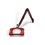 "Meiji MG900/2XRED Rectangular 2x Magnifier 7"" x 5¼""with 43"" reach, with table edge clamp, Red finish"