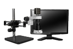 Scienscope Microscopes MAC-PK5D-E1Q-AF Auto Focus Digital Inspection System, Dual Arm Boom Stand, LED Ring Light