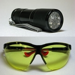 Zarbeco LED Flashlight with UV LEDs and Safety Eyewear Glasses UVset