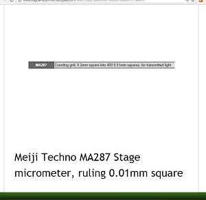 Meiji Techno MA287 Stage micrometer, ruling 0.01mm square