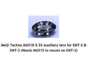 Meiji Techno MA518 0.5X Auxiliary lens for EMT-2 & EMT-3 (Needs MA515 to mount on EMT-2)