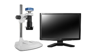 Scienscope Microscopes MAC-PK1-R3-AF Auto Focus Digital Inspection System, Extended Post Stand, LED Ring Light