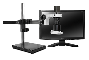 Scienscope Microscopes MAC-PK5-E2D-AF Auto Focus Digital Inspection System, Gliding Arm Boom Stand, LED Ring Light